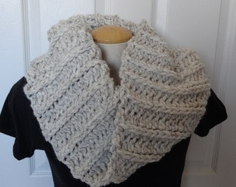 Sale 25% Off - Thick and Chunky Cowl & Shoulder Warmer in Cream/Ivory/Beige with Natural Black Fibers Ready to Ship