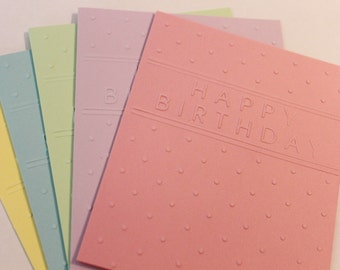 Birthday card mixed set, set of five embossed birthday cards in mixed colors, happy birthday card set, modern birthday card set