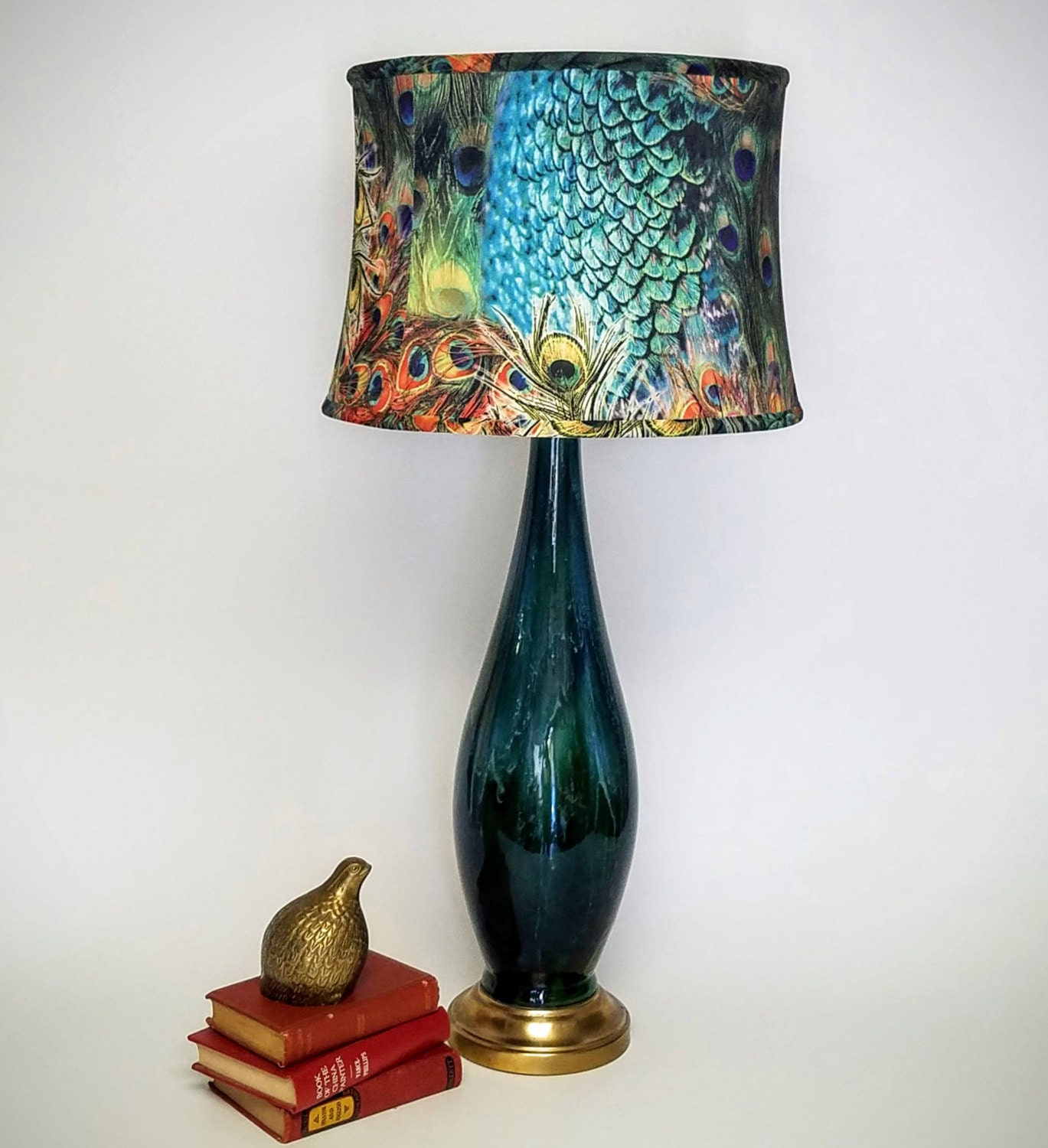 Mid Century Table Lamp Peacock Shade Hollywood Regency Styish