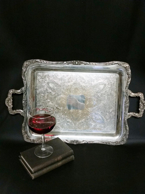 Vintage Silver Plate Butler Serving Tray Vintage Wm Rogers