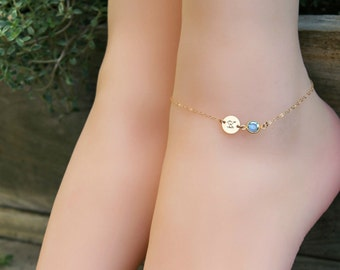 ANKLET personalized ankle bracelet,14k gold filled, custom stamped initial disc & Swarovski Birthstone, beach wedding,Bridesmaids baby child