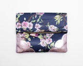 BLOSSOM 2 / Floral fabric & Natural leather folded clutch bag with leather tassel - Ready to Ship