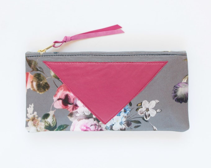 SALE/ Cotton pouch-natural leather pouch-floral print-pink grey-make up bag-cosmetic purse-bag organizer-small purse-zipper pouch /FLARE 115