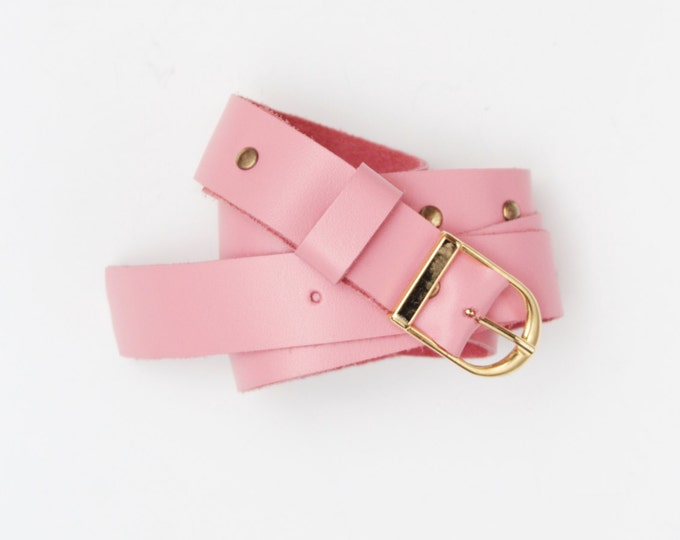 Natural leather belt. Genuine leather belt. Handmade belt. Dress belt. Women waist belt. Leather accessories. Pink gold.