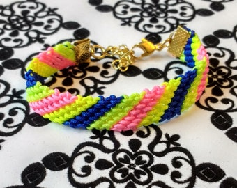 Neon Friendship Bracelet, Bright Colors, Summer Bracelet