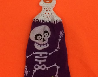 Halloween in July - Skeleton- N - Pumpkin - Hanging kitchen towel - Crochet top -Button top