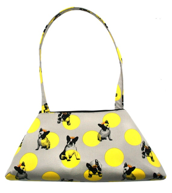 dogs, French bull dogs, polka dots, vintage inspired, retro style, tote