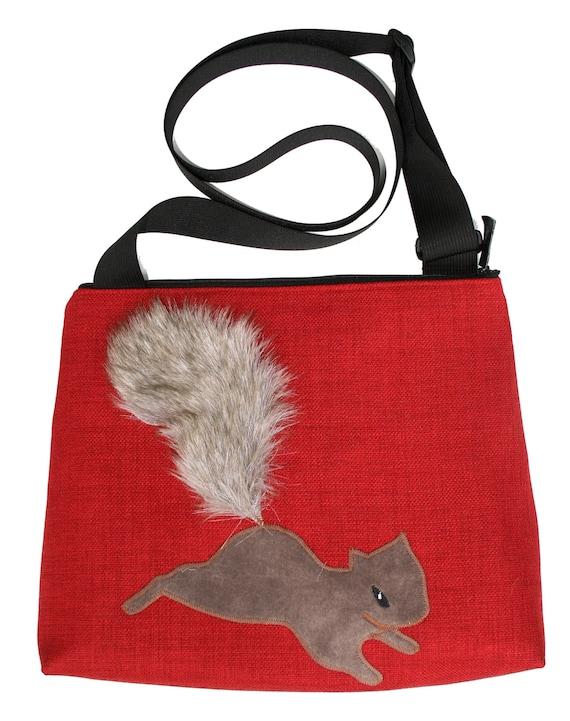 squirrel, red, fake fur, vegan, cruelty free, large, cross body bag