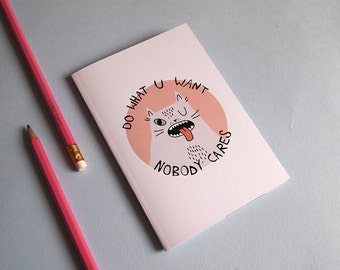Small Cat notebook - Cat notebook - I like cats - A6 notebook - small notebook - cat journal - cats - Sketchbook - Plain paper - dwyw