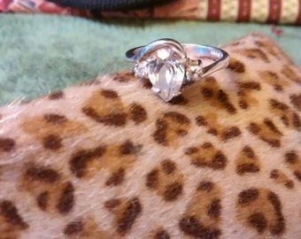 Sterling Silver Crystal  Ring Size 6
