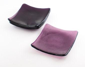 Dessert Plates, Modern Dish Set, 3rd Anniversary Gift for Couple, Unique Dinnerware, Side Plates, Purple Glass, Imprinted Design