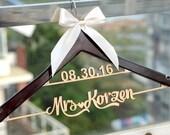 New-tech Wedding Hanger with Date , Personalized Rustic Wedding Dress Hanger,  Custom Wood Bridal Last Name Hanger, Bridal Shower Gift LL009