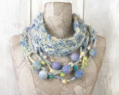Knit scarf necklace infinity , boho wool loop , Art Hand Knitted wrap , knit blue white Bohemian clothing , Gypsy  scarves ,  felt art rope