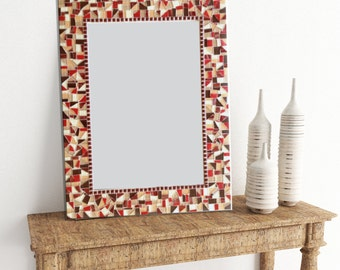 Decorative Wall Mirror - Brown and Red Mosaic Wall Mirror - Earth Tones - Bathroom Mirror