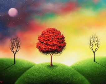 Art Print of Surreal Landscape Painting, Dreamscape Cross Art, Giclee Print of Oil Painting, Three Trees Modern Art, Christian Wall Art