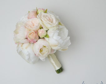 Wedding Bouquet, Silk Wedding Bouquet, Bridal Bouquet, Rose Bouquet, Silk Flowers, Ivory Bouquet, Blush Bouquet, White Bouquet, Garden Rose