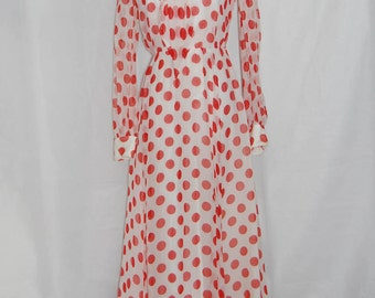 1970s polka dress maxi dress size medium M