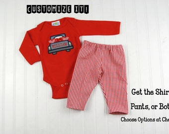 Boy Valentine's Day Outfit - Valentines Outfit Boy - Baby Boy Valentine's Shirt - Boys Valentines Day Clothes - Truck Bodysuit Gingham Pants