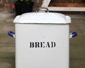 SALE - Giant Bread Bin - 46cm Tall Oversized Vintage Enamel Bread Bin with Blue Handles and Black Lettering