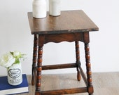 Small Vintage Table - Sweet Little Vintage Oak Side Table, Coffee Table, End Table, Plant Stand, Lamp Stand