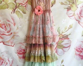dusty pink mint and olive tiered BoHo bridesmaid dress by Mermaid Miss Kristin