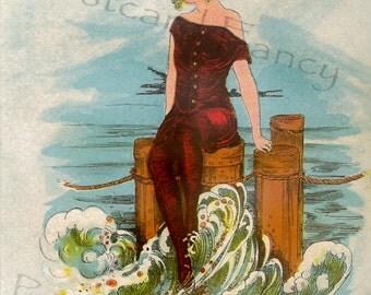 Just SUMMER SEAWEED, Vintage Beach Postcard, Instant, Digital Download