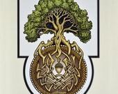 Ouroboros Tree- Digital Art Print -  Arbor - Great Oak - Acorn - Irish art - yggdrasil - norse - oroboros - uroboros - alchemy - Jörmungandr