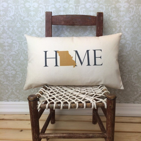 Missouri Pillow, Long Pillow, Home Pillow, State Pillow, Home Decor, House Warming Gift, House Warming Pillow, Custom Pillow, Lumbar