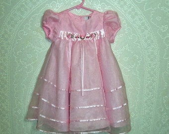 Size 24 months - Vintage Baby Dress - From Rare Editions - Pink - Satin - Organza - Easter - Flower Girl