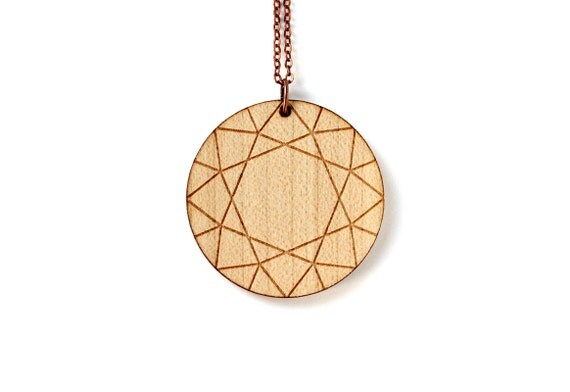 Diamond necklace - fake stone pendant - bling precious jewelry - wooden jewellery - lasercut maple wood - minimalist graphic accessory