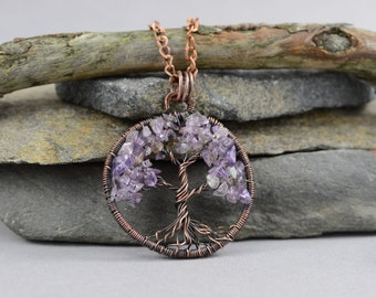 Tree-Of-Life Pendant Copper Wire Wrapped Pendant Wired Copper Jewelry Wire Wrapped Modern Pendant Amethyst Chip Bead Rustic Necklace Unisex