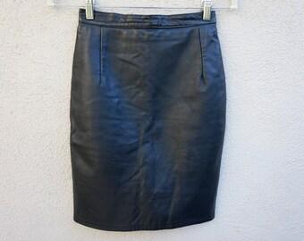 90s Black Leather Mini Skirt, Leather Skirt, High Waist Skirt, High Waisted Mini Skirt, 90s Clothing, 90s Grunge