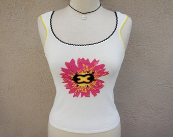90's Tank Top, White Tank Top, Flower Print with Beading, 90's Grunge, Floral Tank Top, Fitted Tank Top