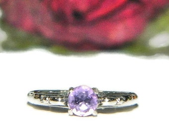 Dainty Amethyst Ring, February Birthstone Ring, Sterling Silver Ring With Purple Stone, Simple Ring
