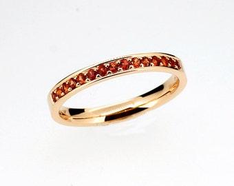 Orange sapphire ring, wedding ring, white gold, yellow gold, rose gold, half eternity ring, wedding band, orange gemstone, engagement, pave