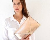 Leather rose gold clutch / Handmade leather bag / Rose gold clutch / Rose gold purse / Envelope clutch / Bridesmaid gift