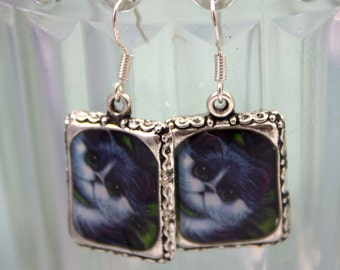 Cat Gray Earrings 3D Picture Jewelry Dimensional White Artist Silver