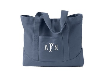 Monogram Canvas Tote Bag  -  Personalized Canvas Tote Bag  in 7 colors - Large Tote