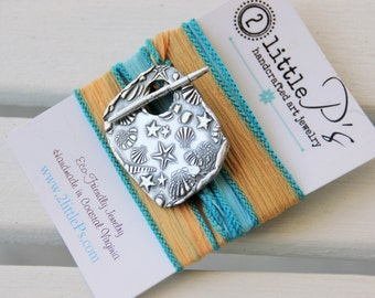 READY TO SHIP Ocean Jewelry ~ Silk Wrap Bracelet ~ gift for her, beach wedding