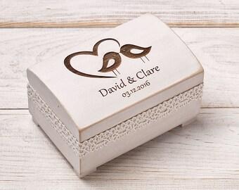 Ring Bearer Box, Wedding Ring Box, Rustic Ring Box, Wedding Ring Bearer, Personalized Ring Box,Wedding Ring Holder, Ring Pillow, Love Birds