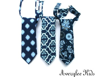 Boys Navy Blue Necktie, Navy Blue Neck Tie, Toddler Necktie, Wedding Ring Bearer, Baby Boy Tie, Navy Wedding, Groomsmen Necktie