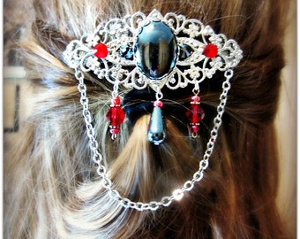 Gothic Barrette, Filigree Hair Clip, Hematite Barrette, Red and Black Gothic Wedding