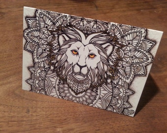 Sophie Nina Leo Lion greeting card A6