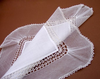 Vintage White Tatted Net Hanky