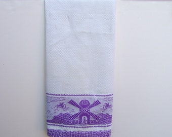 Vintage Dutch Guest Towel . Purple Windmills & Swans . 1930s Woven Tea Towel .