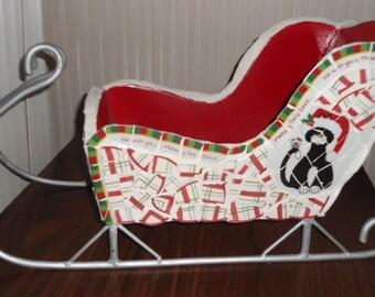 Decorative Mosaic Christmas Sleigh / Piece Made / Great Photographer's Prop