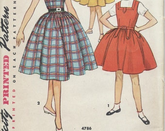 UNCUT Vintage 1950's Girl's Dress and Jumper Pattern Simplicity 4786