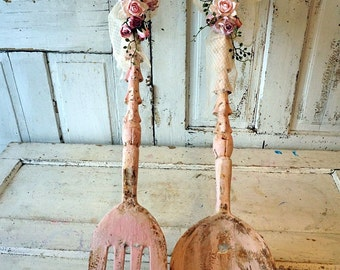 Large spoon w/ fork wall hanging shabby cottage chic pink rusty wooden utensil set decorated in handmade roses lace decor anita spero design