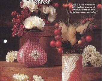 Mini Flower Vases Plastic Canvas Pattern - The Needlecraft Shop - Jeweled Vase, Cattail Vase, Home Decor