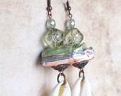 Cowrie shell jewelry, Cowrie shell earrings, Sea shells, Beach earrings, Summer earring,  Artisan jewelry, Porcelain jewelry